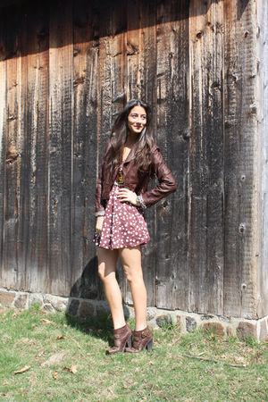 brown Jeffrey Campbell shoes - red daisy general pants dress