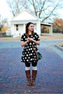 Brown-riding-boots-american-eagle-boots-black-white-polkadots-forever-21-dress