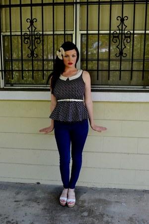 navy demni Urban Outfitters jeans - tan white pleather calvin klein wedges