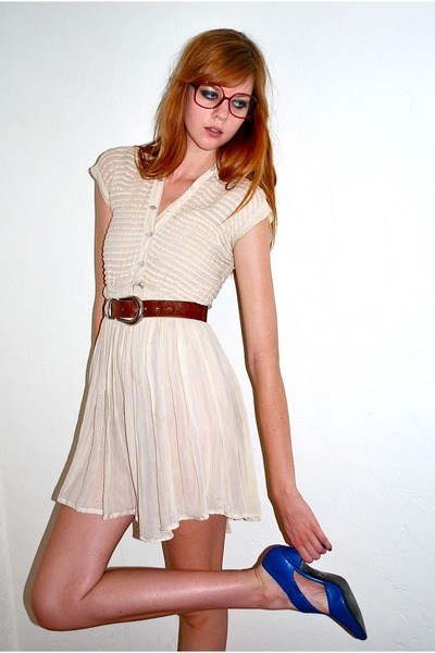 beige Leather Lace And Velvet Vintage dress - brown Zara belt - red Leather Lace