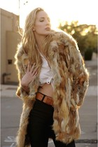 brown Leather Lace And Velvet Vintage coat - beige vintage belt
