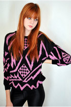 Pink-leather-lace-and-velvet-vintage-sweater-black-american-apparel-pants