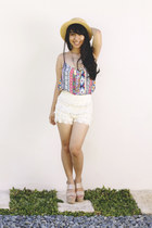 Thrift Store hat - lace genevieve gozum shorts - Forever 21 wedges