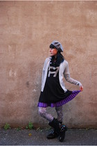 black Cougar Shoes boots - vintage cardigan - French Connection dress - Urban Ou