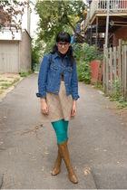 vintage dress - vintage boots - H&M tights - vintage glasses - vintage jacket -