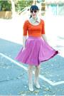 Nude-vintage-heels-carrot-orange-forever-21-dress-hot-pink-vintage-skirt