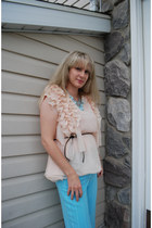 peach ruffles chiffon romwe top - light blue tassels beads romwe accessories