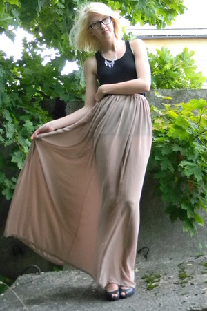 light pink transparent selfmade skirt - black oversize H&M top