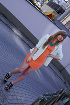 orange Monki dress - light blue Monki blazer - brown bullboxer sneakers