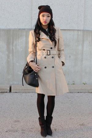 beige Zara coat - black Spring boots - black Zara bag - crimson H&M skirt