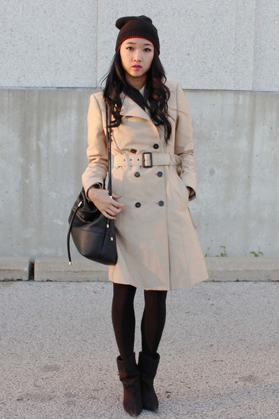 beige Zara coat - black Spring boots - black Zara bag - crimson H&M skirt