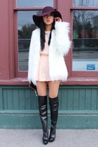 black B2 boots - white Zara coat - crimson American Apparel hat