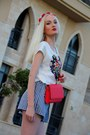 White-h-m-shirt-red-bright-h-m-bag-blue-checkered-zara-shorts