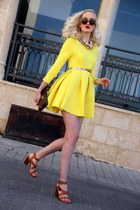 yellow choiescom dress - dark brown Louis Vuitton bag - brown Zara heels