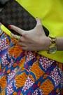 Yellow-zara-sweater-dark-brown-louis-vuitton-wallet-orange-zara-skirt