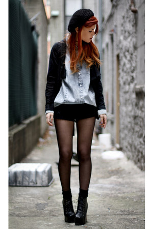 VJ-style shoes - romwe shirt - Chicwish shorts