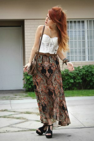 tawny Hallelu skirt - black fashionpash heels - white vintage top