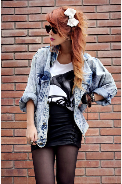 sky blue vintage jacket - ivory asthemusicdies t-shirt - black Forever21 skirt