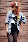 Sky-blue-vintage-jacket-black-forever21-skirt-ivory-asthemusicdies-t-shirt