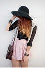 Black-forever-21-hat-dark-brown-vintage-bag-light-pink-vintage-skirt