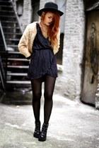 blue Love dress - Modekungen shoes - beige mixmoss jumper