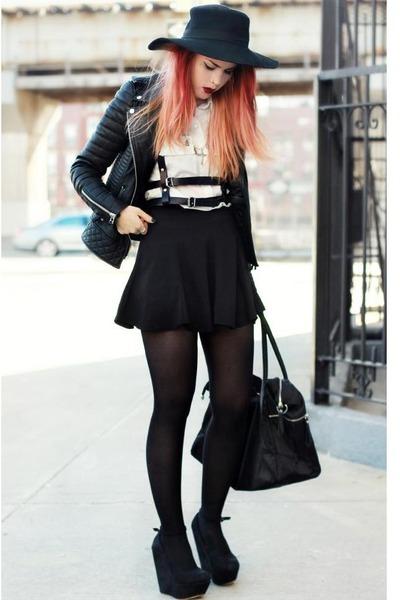 Boda Skins jacket - romwe bag - Regal Rose top - romwe skirt