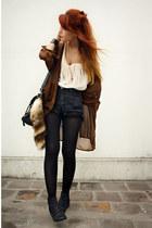navy vintage shorts - black Wanted Shoes shoes - dark brown vintage blouse