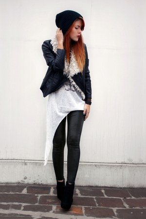black albertsons hat - black GiGi Vintage leggings - white evil twin top - black