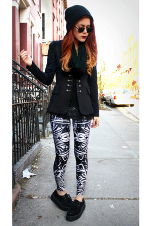 navy BlackMilk leggings - black creepers shoes - black inlovewithfashion blazer