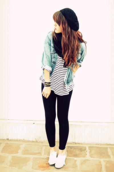 black tights - black vintage top - white shoes - blue vintage jacket