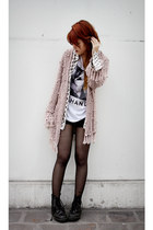 light pink romwe cardigan - black transfer by me t-shirt