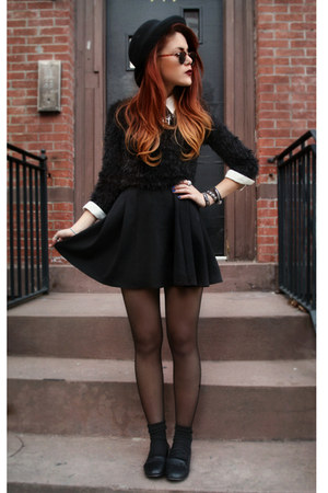 black Love dress - black le bunny bleu shoes - black AX jumper