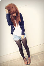 blue vintage shorts - brown vintage shoes - blue f21 blazer - black 529 tights