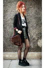 Black-romwe-blazer-dark-green-vintage-skirt