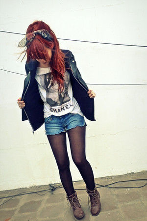 black Forever 21 jacket - gray Tee - blue vintage shorts - beige Barefeet Shoes