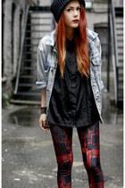 Market HQ blouse - vintage jacket - BlackMilk leggings