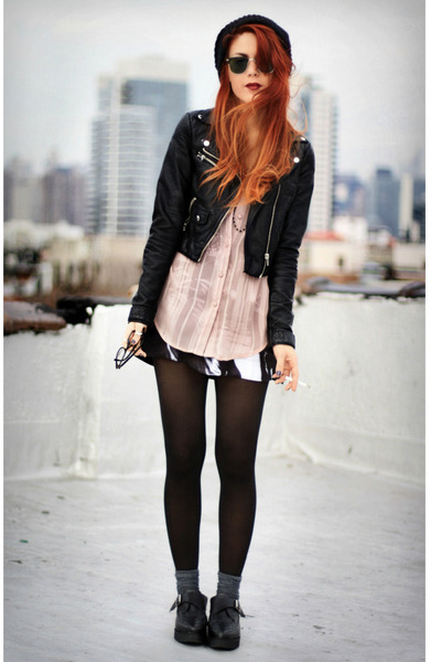 light pink foxhouse blouse - black VJ-style shoes
