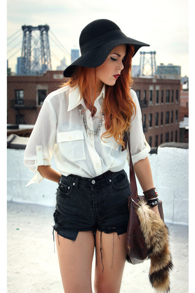 black Forever 21 hat - dark gray vintage shorts - off white vintage blouse