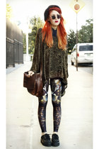brown Black Milk leggings - burnt orange vintage bag