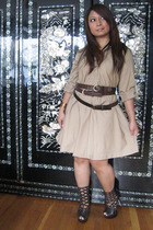 dress - Bebe boots - belt - bracelet