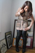 beige Rodarte for Target cardigan - Victorias Secret - black Wet Seal leggings -