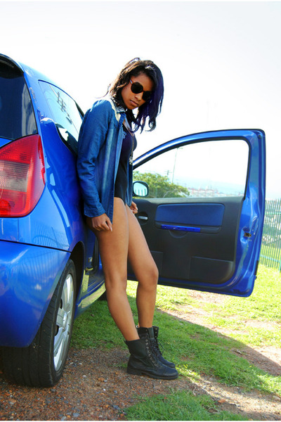 black boots - black leotard bodysuit - blue blouse