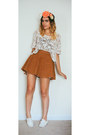 White-floral-urban-outfitters-t-shirt-bronze-corduroy-american-apparel-skirt
