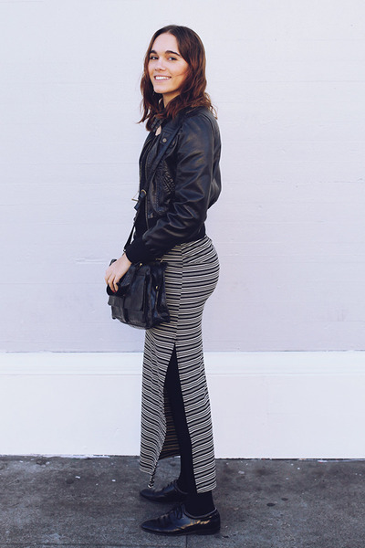 black thrifted shoes - black leather thrifted jacket - black thrifted purse