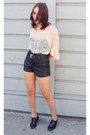 Cream-lace-forever-21-top-black-patent-shoes-black-leather-h-m-shorts