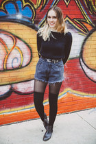 black Urban Outfitters boots - yellow color block sweater