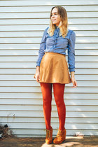 camel suede Jeffrey Campbell wedges - burnt orange tights