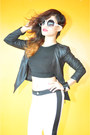 Black-faux-leather-jacket-black-knitted-midriff-top-white-skinny-pants