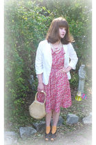 pink Liberty of London dress - white Harolds blazer - brown Mossimo shoes