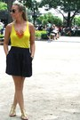 Yellow-hi-line-shirt-black-ray-ban-sunglasses-navy-h-m-skirt-light-orange-